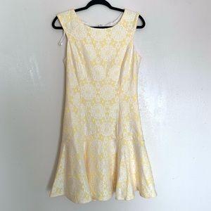 Nanette lepore yellow & white lace dress